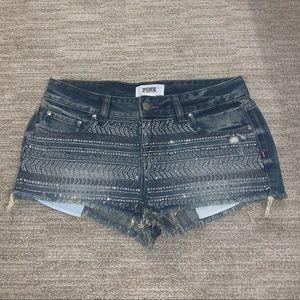(PINK) Blinged Denim Shorts